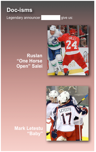 Doc-isms Legendary announcer Mike Emrick give us:     Ruslan 